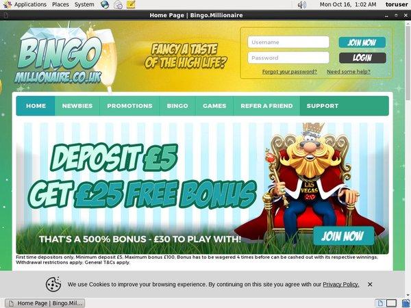 Bingo Millionaire Using Paypal