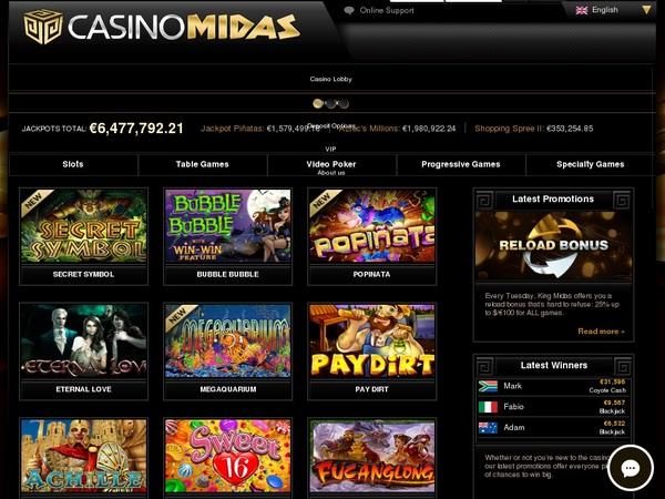 Casino Midas Welcome Bonus Offer