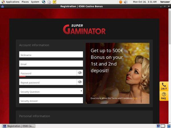 Supergaminator Online Casino Bonus