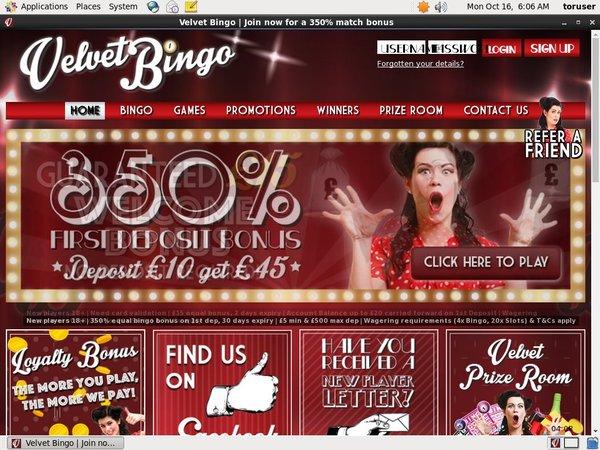 Velvet Bingo Promociones