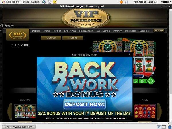 VIP Power Lounge Deposit Bonus
